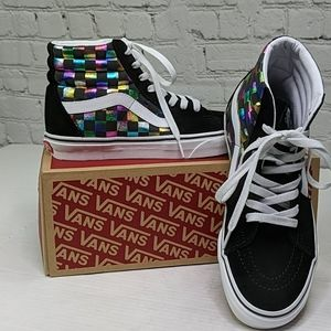 NWT vans SK8-High iridescent checkerboard sneakers